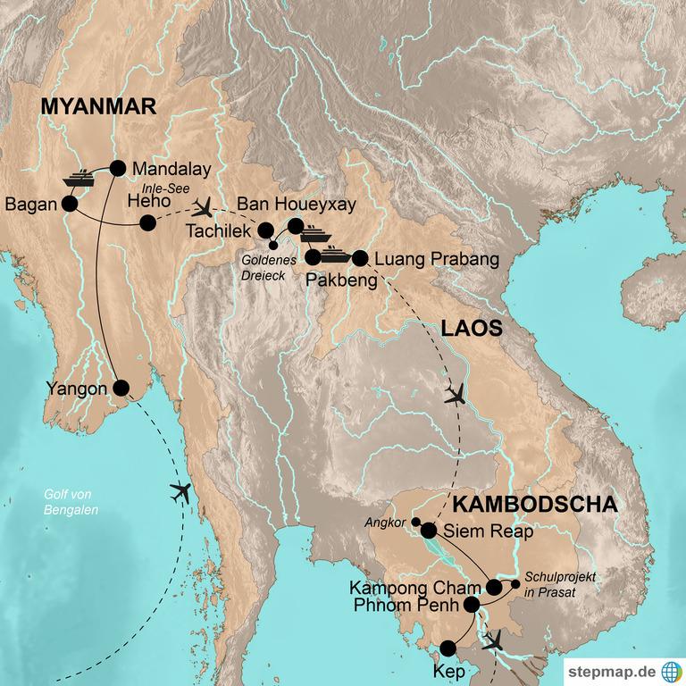 Myanmar, Laos und Kambodscha  – Von West nach Ost durch Indochina