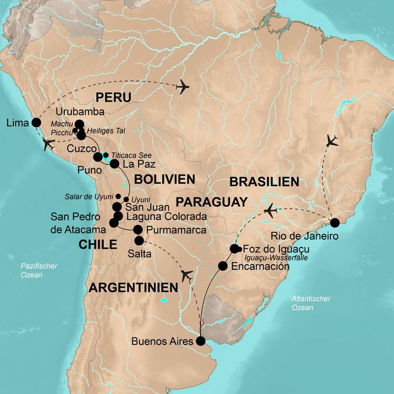 Brasilien, Paraguay, Argentinien, Chile, Bolivien und Peru – Höhepunkte Südamerikas