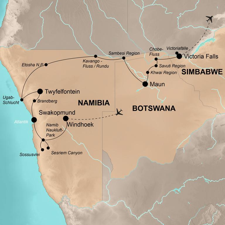 Namibia, Botswana, Simbabwe – Den Zauber des südlichen Afrikas erleben