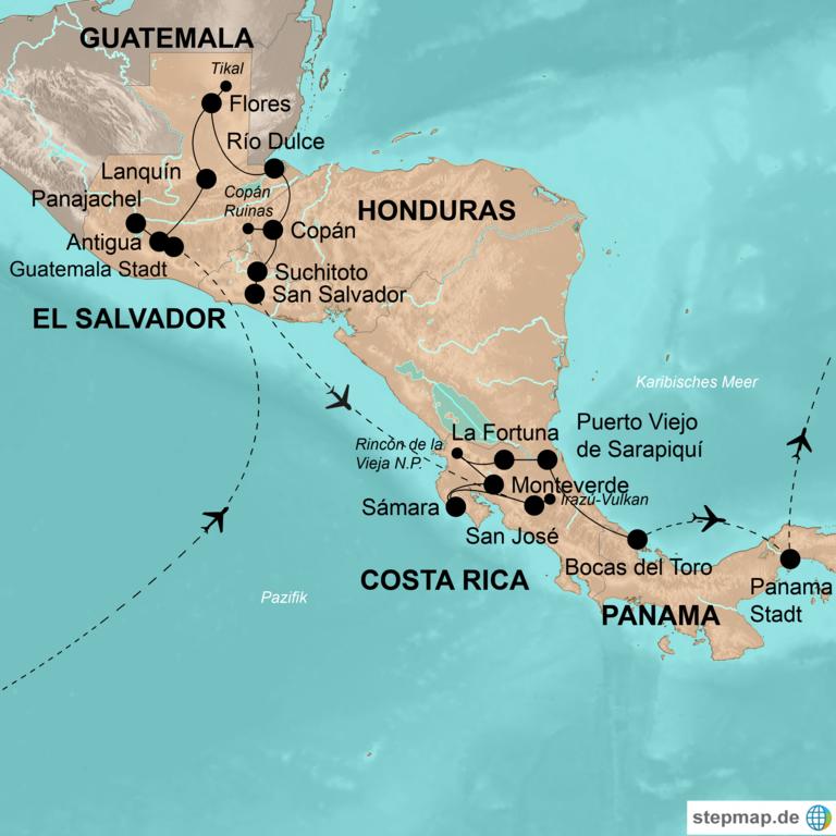 Guatemala, Honduras, El Salvador, Costa Rica und Panama – Die große Mittelamerika-Reise