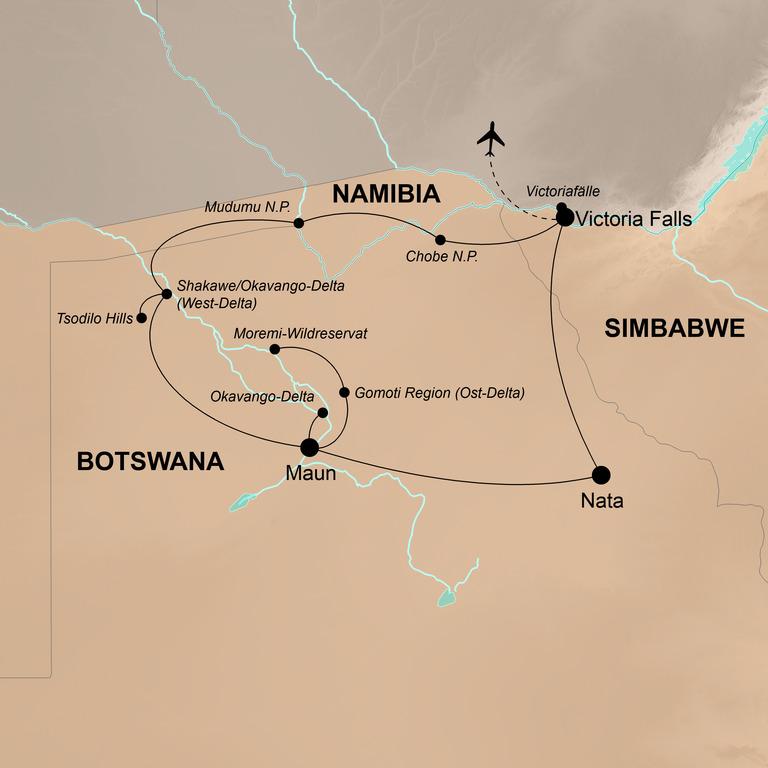 Botswana mit Victoriafällen und Sambesi Region – Natur pur im Herzen Afrikas