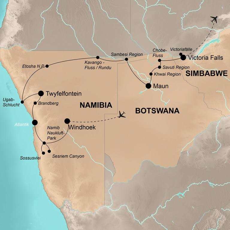 Namibia, Botswana, Simbabwe –