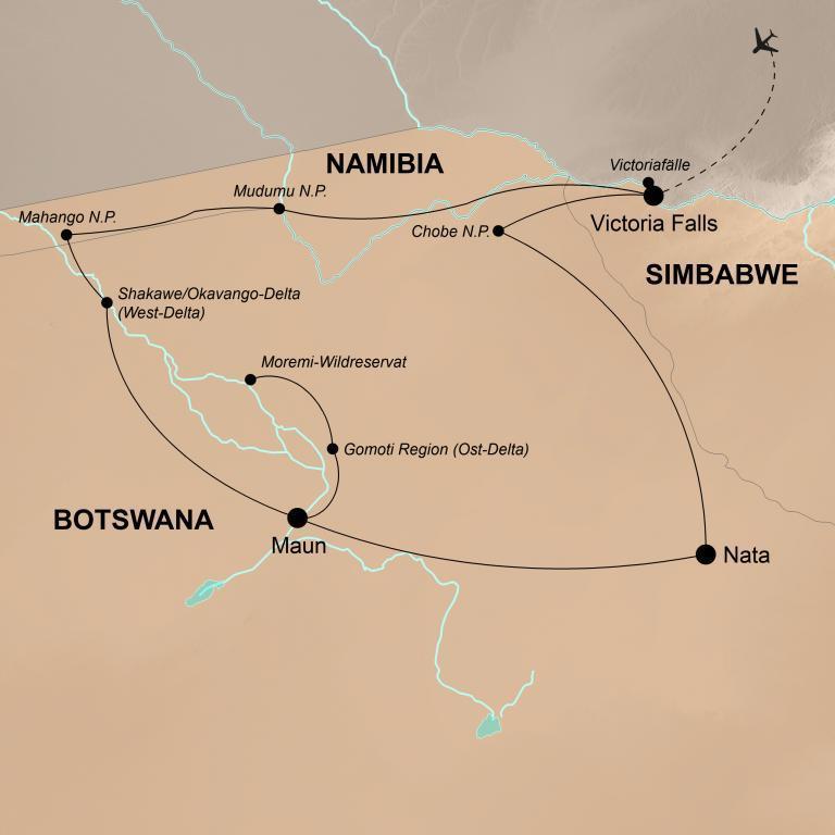 Botswana mit Victoriafällen und Sambesi Region  – Einzigartige Natur und Tierwelt