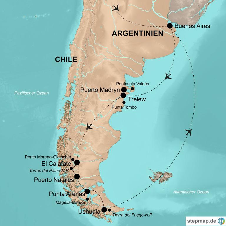 Argentinien mit Chile – Höhepunkte Patagoniens