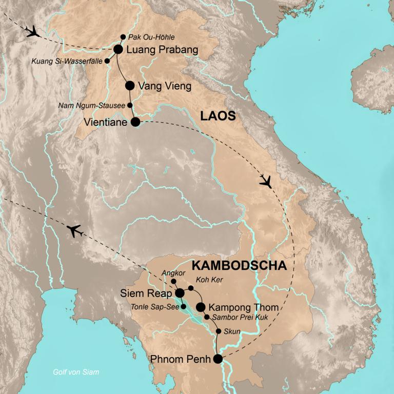 Laos und Kambodscha – Entspannt im Herzen Indochinas