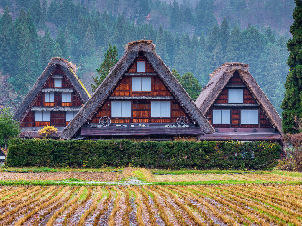 Takayama – Shirakawago: Vormittag frei, Spaziergang durch das UNESCO-Weltkulturerbe, Übernachtung im Minshuku