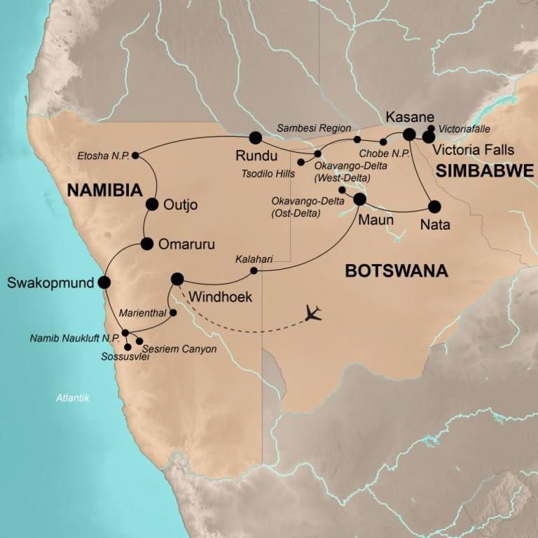 Namibia und Botswana mit Victoriafällen  – Buschromantik