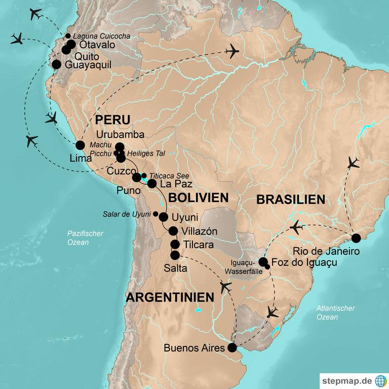 Brasilien, Argentinien, Bolivien, Peru und Ecuador – Die Höhepunkte Südamerikas