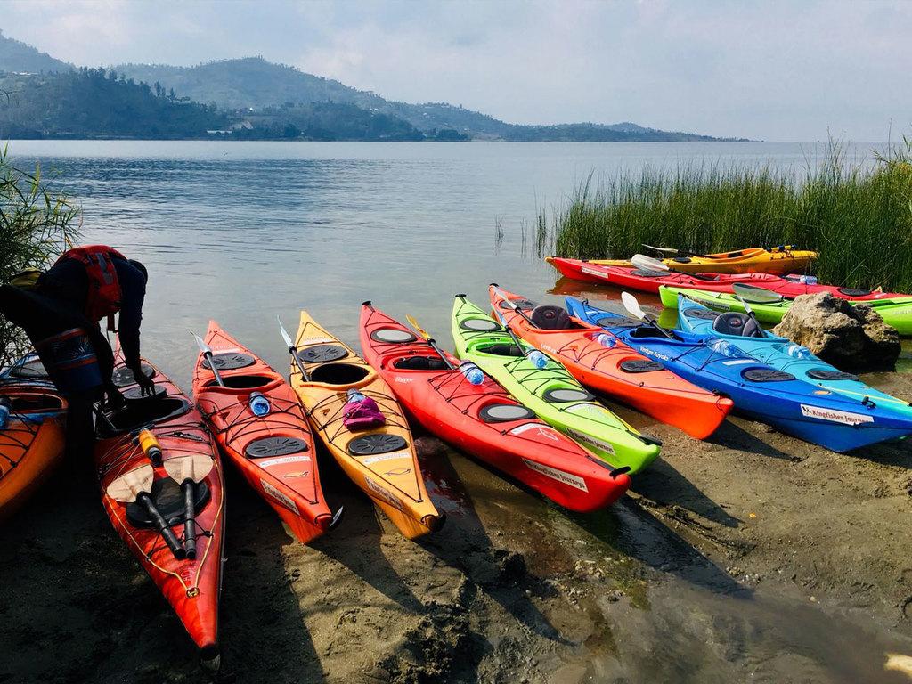 Kivu-See : Kajaktour auf dem See