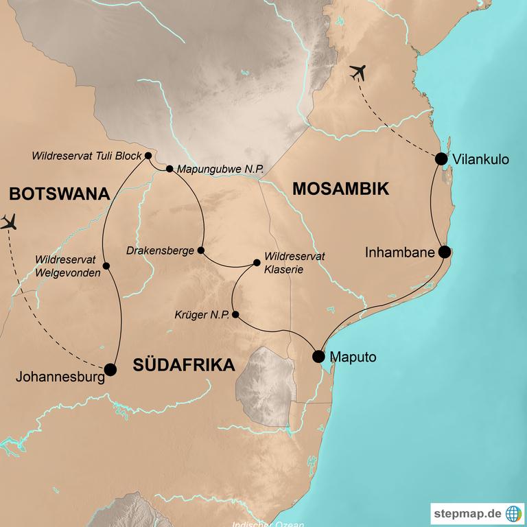 Südafrika, Botswana und Mosambik –