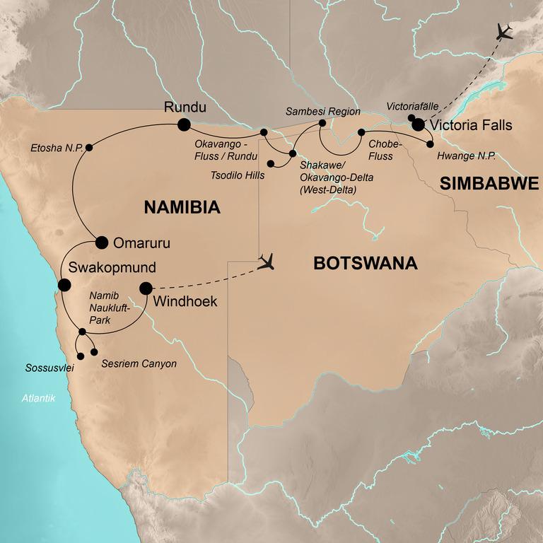 Simbabwe, Botswana und Namibia – Von den Victoriafällen bis Windhoek
