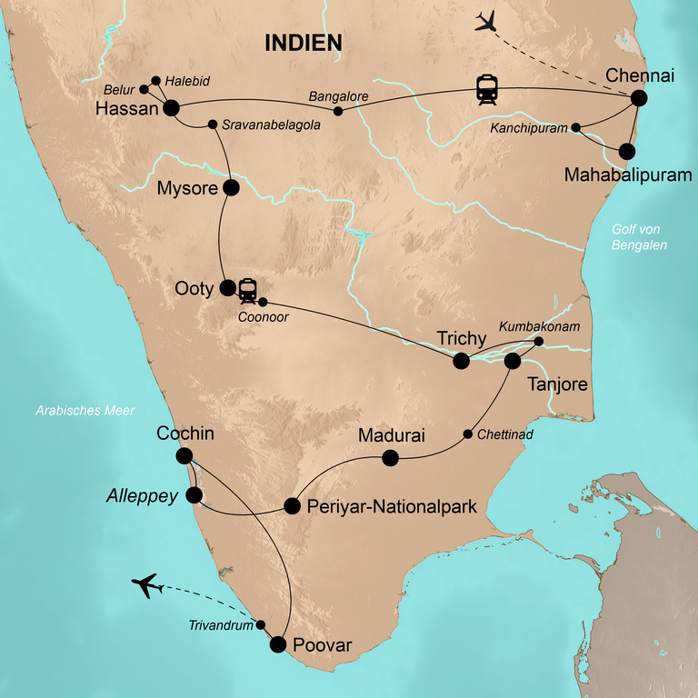 Indien: der Süden – Tempel, Tee, Tropensonne