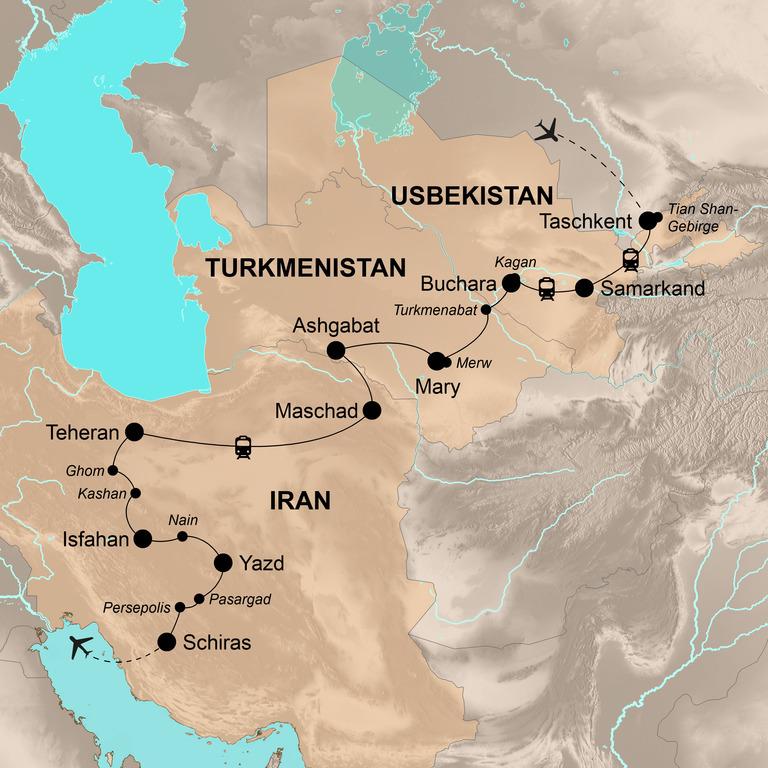 Usbekistan, Turkmenistan und Iran – Das Herz der Seidenstraße