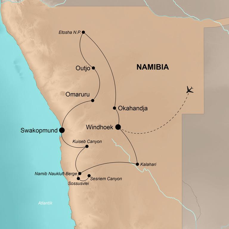 Namibia  – Wildlife und Wüste