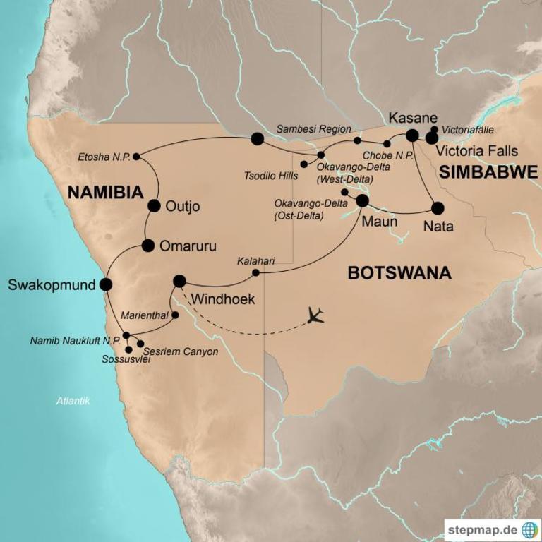 Namibia und Botswana mit Victoriafällen Comfort+ – Das südliche Afrika mit Genuss erleben