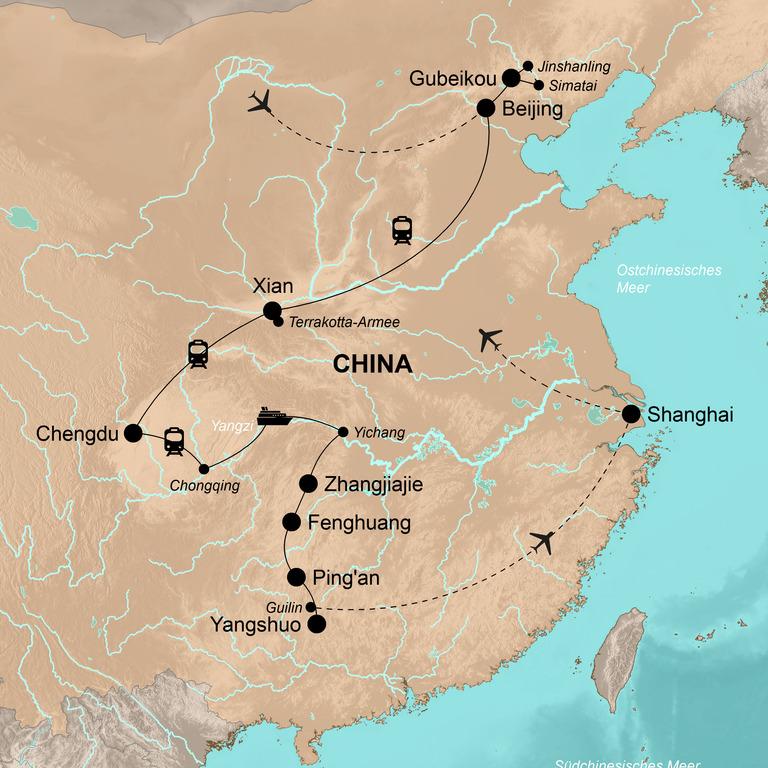 China der Norden und Süden mit Yangzi-Kreuzfahrt – Metropolen, Yangzi, Reisterrassen
