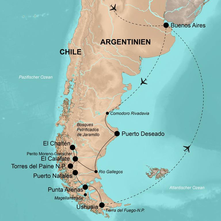 Argentinien und Chile  – Patagonien mit allen Sinnen