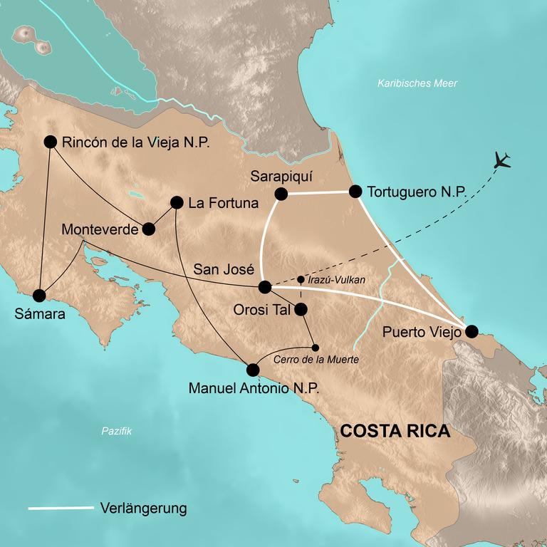Costa Rica mit Verlängerung Tortuguero und Karibik – Die Perle Mittelamerikas