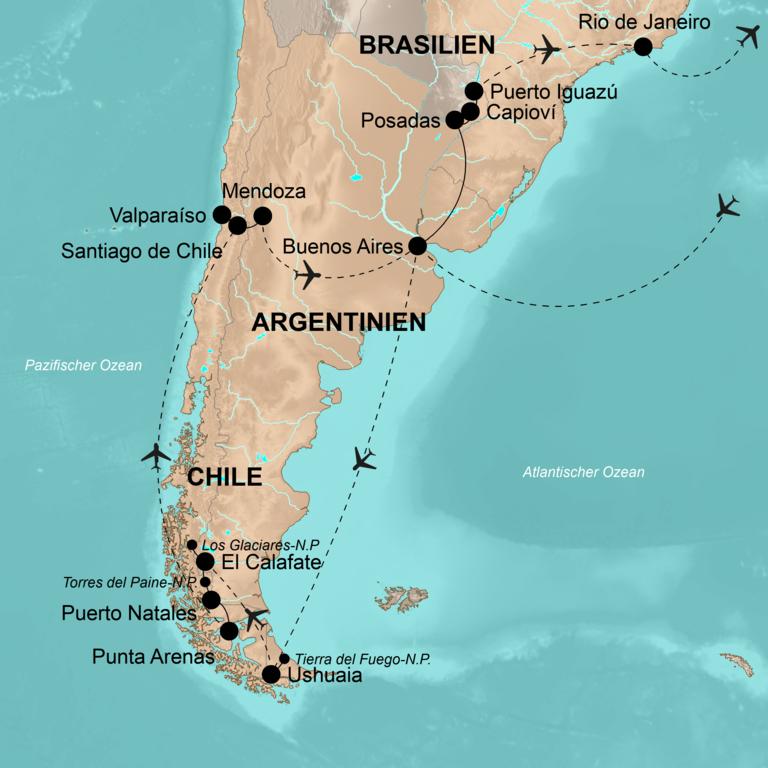 Argentinien, Chile und Brasilien – Von Ushuaia an die Copacabana