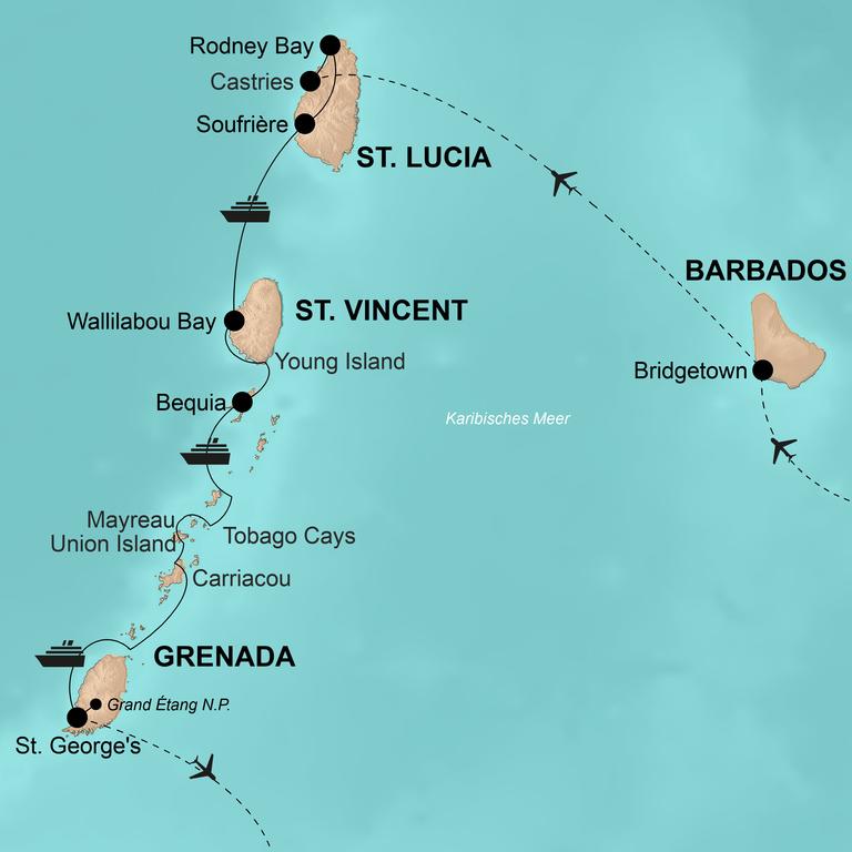 St. Lucia - St. Vincent - Grenada mit Barbados – Segel hoch! Inselhüpfen in der Karibik