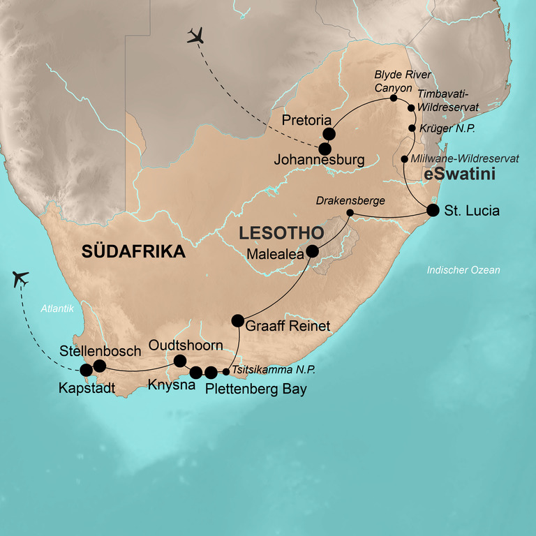 Südafrika mit eSwatini (Swasiland) und Lesotho – Regenbogennation am Kap