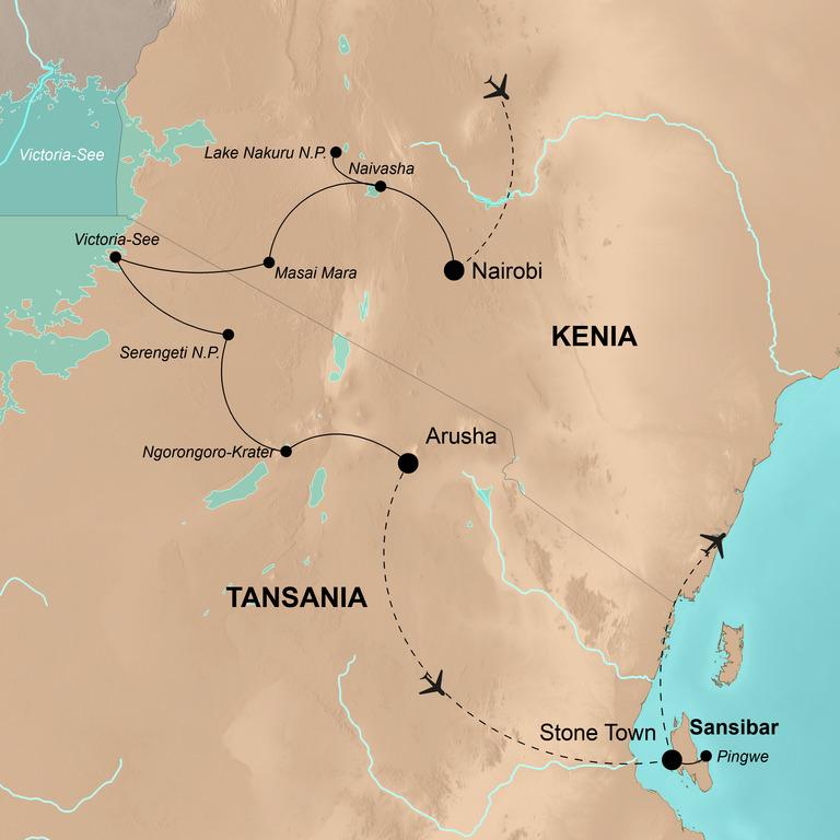 Kenia und Tansania mit Sansibar – Safari-Erlebnisse in Ostafrika