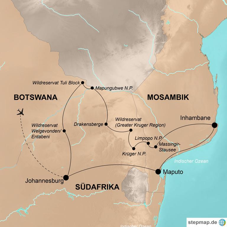 Südafrika, Botswana und Mosambik – Afrikas Wildnis und Traumstrände