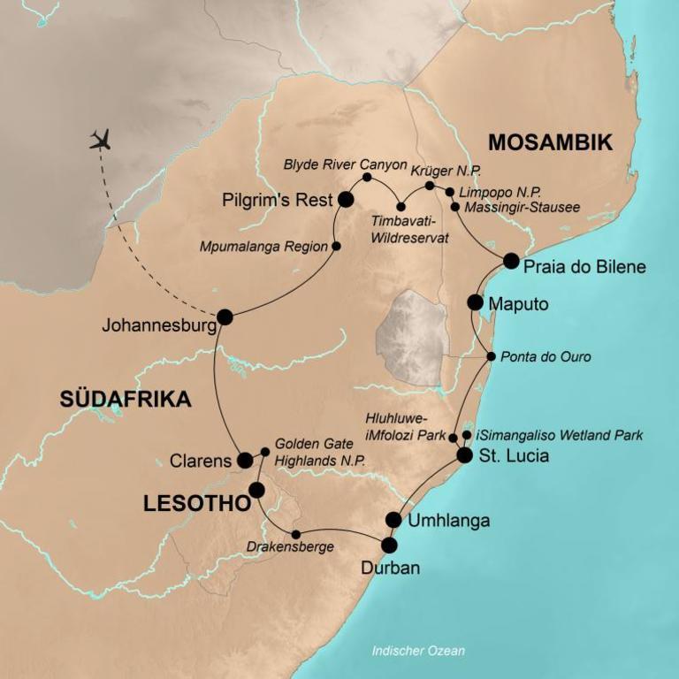 Südafrika, Mosambik und Lesotho – Safaris, Traumstrände und hohe Gipfel