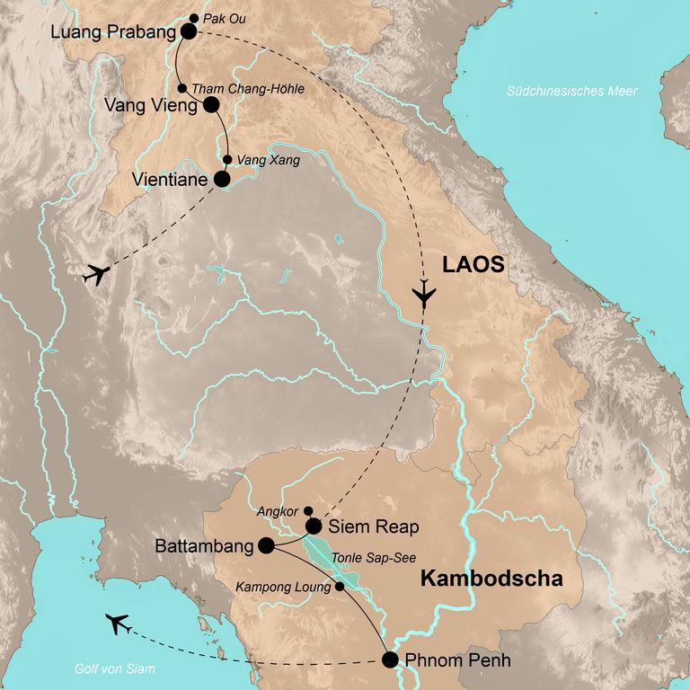 Laos und Kambodscha – Die Höhepunkte Indochinas