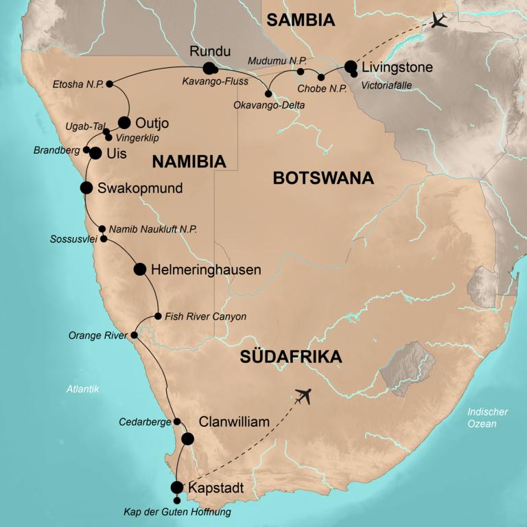 Sambia-Botswana-Namibia-Südafrika – Von den Victoriafällen bis zum Kap