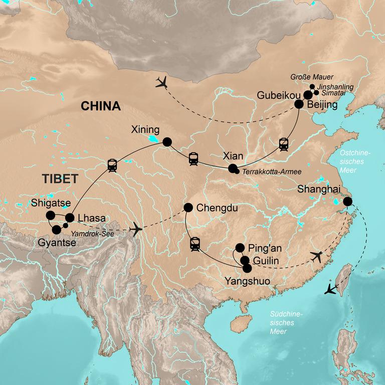 China und Tibet mit Lhasabahn – Auf Schienen durch das Reich der Mitte