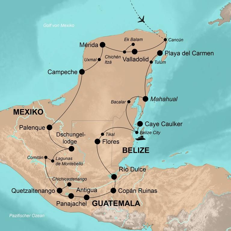 Mexiko, Belize und Guatemala mit Copán – Ruta Maya Adventure