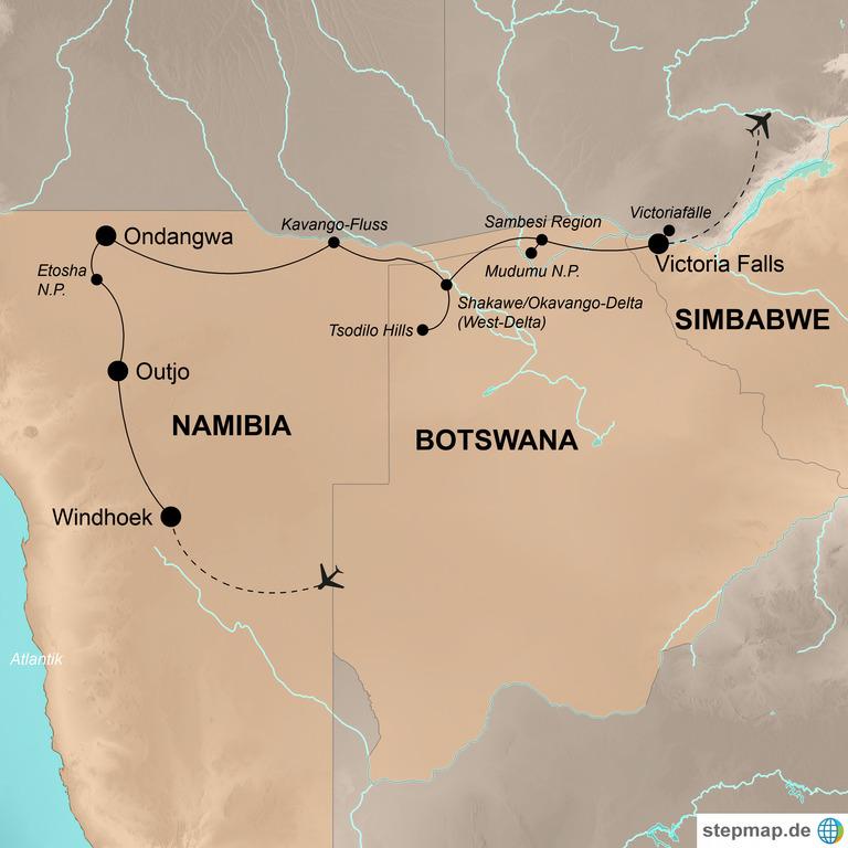 Namibia und Botswana mit Victoriafällen – Safariabenteuer und Kletterspaß