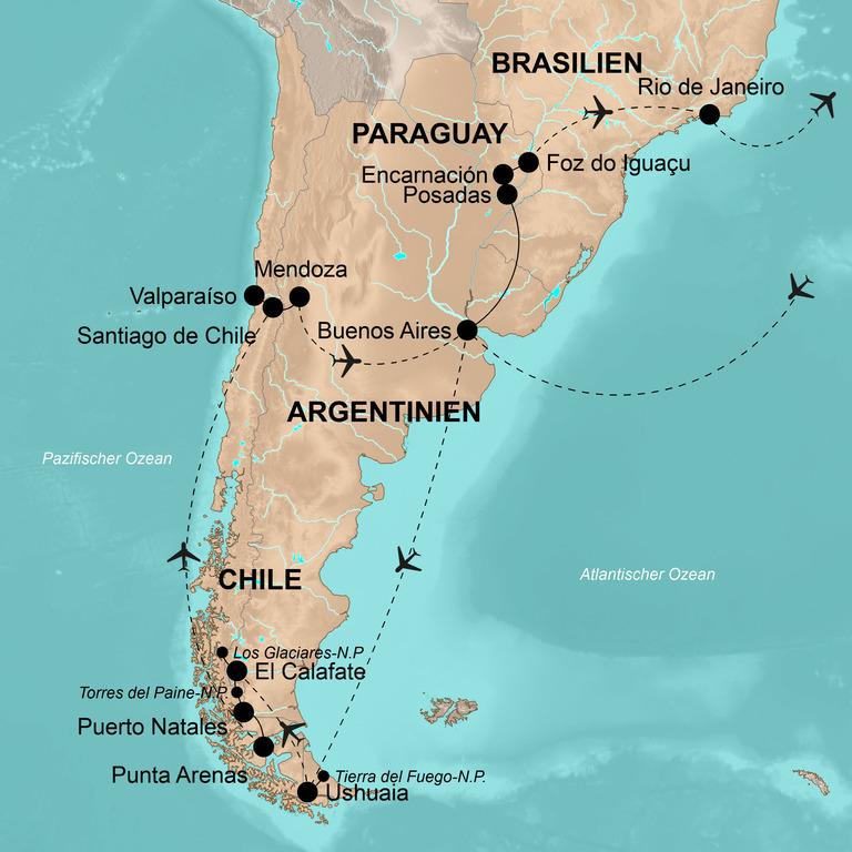 Argentinien, Chile, Paraguay und Brasilien – Von Ushuaia an die Copacabana