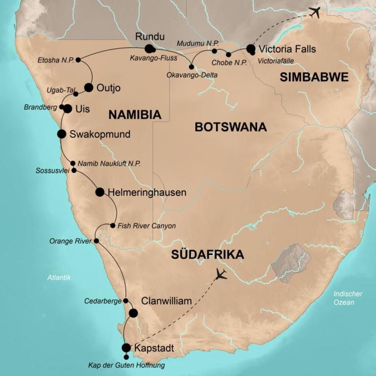 Simbabwe, Botswana, Namibia und Südafrika – Von den Victoriafällen bis zum Kap