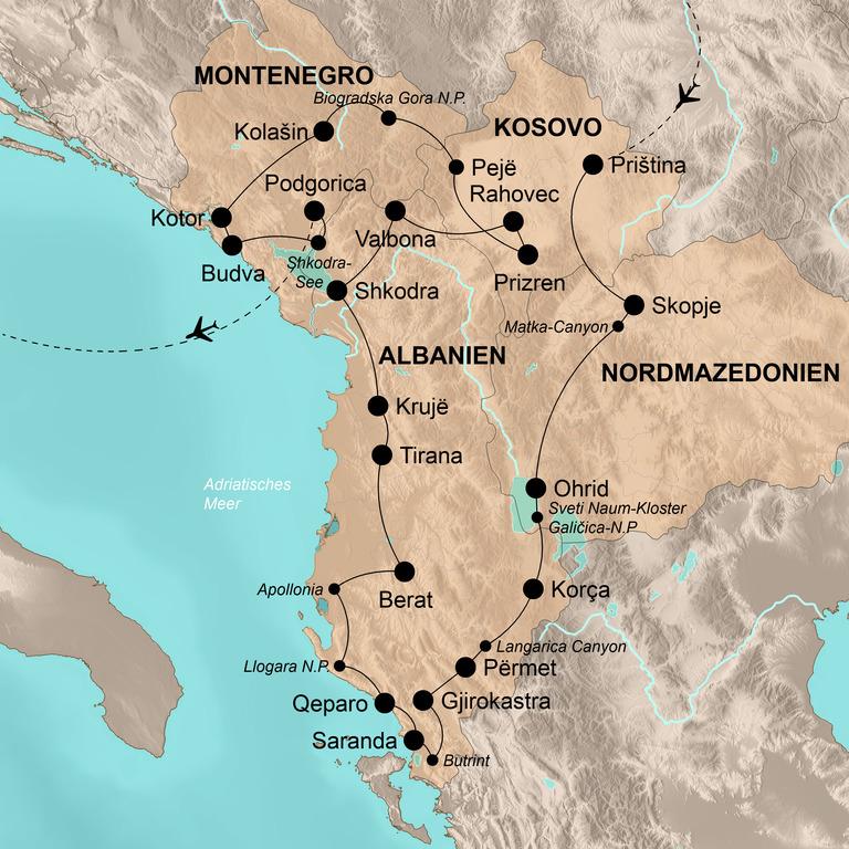 Albanien, Mazedonien, Kosovo und Montenegro – Vier Länder – viele Gesichter