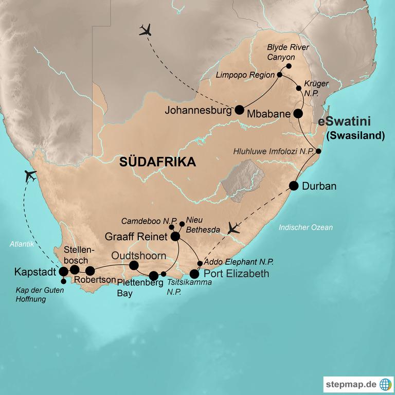 Südafrika mit eSwatini (Swasiland) – Vom Krüger-Nationalpark bis Kapstadt