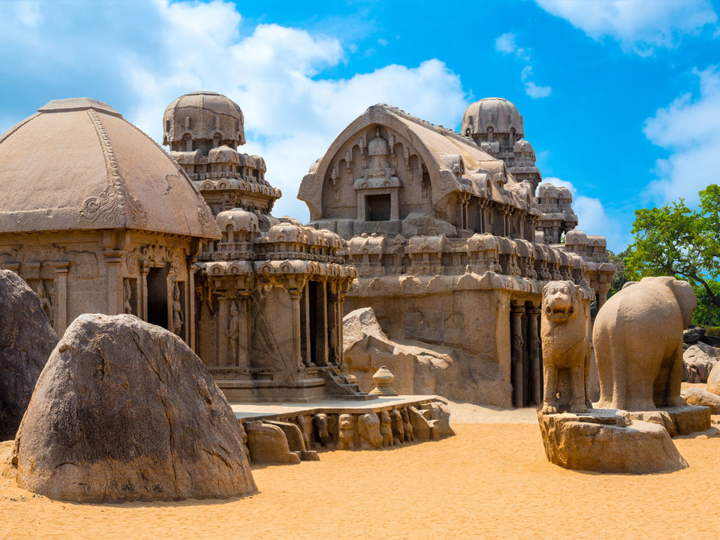 "Mahabalipuram: Shore-Tempel, ""Fünf Rathas"", Freizeit am Strand"