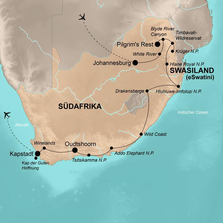 Südafrika mit Swasiland (eSwatini) – Die umfassende Reise
