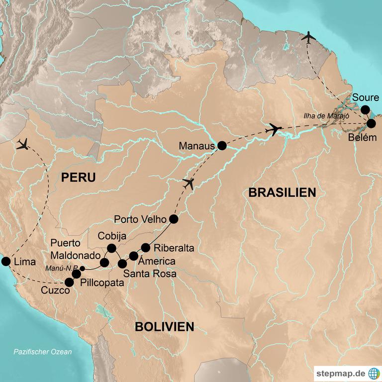 Peru, Bolivien und Brasilien – Abenteuerliche Amazonien-Expedition