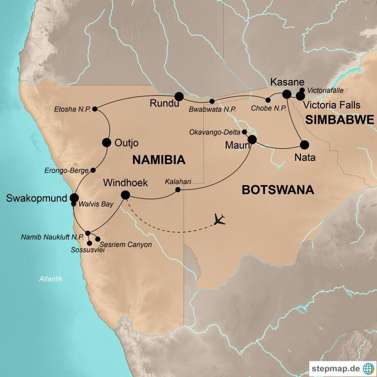 Namibia und Botswana mit Victoriafällen – Atemberaubende Naturerlebnisse