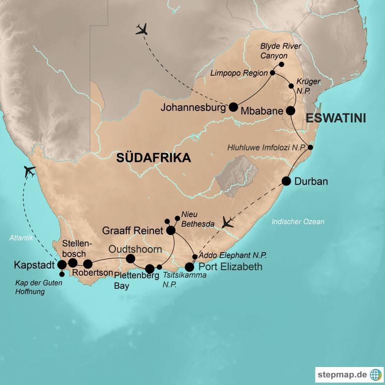 Südafrika mit eSwatini – Vom Krüger-Nationalpark bis Kapstadt