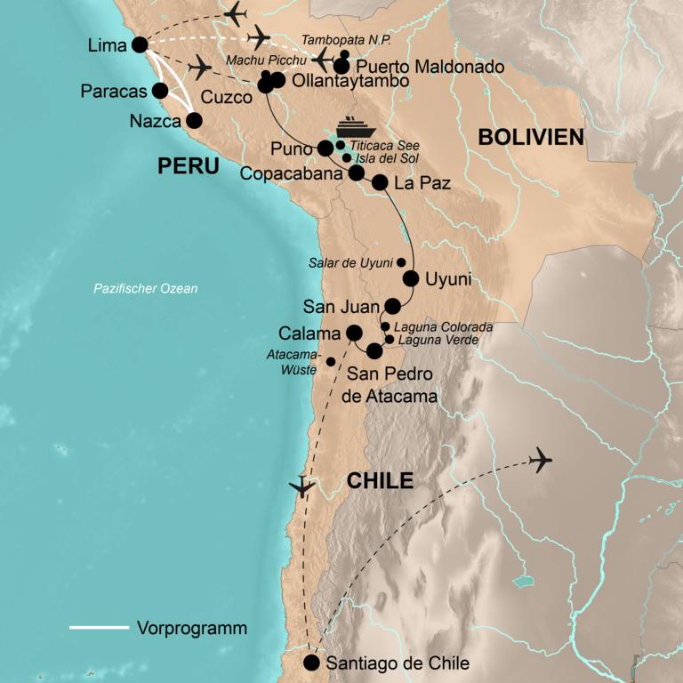 Peru, Bolivien und Chile mit Vorprogramm Küsten- und Dschungelwelt Perus – Von Machu Picchu bis zur Atacama