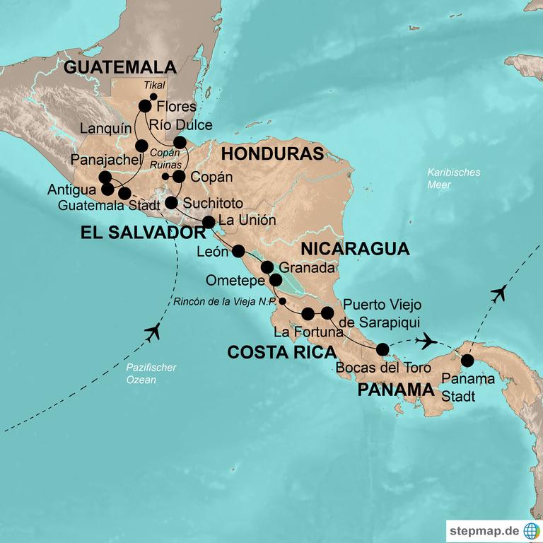 Guatemala, Honduras, El Salvador, Nicaragua, Costa Rica und Panama – Die große Mittelamerika-Reise