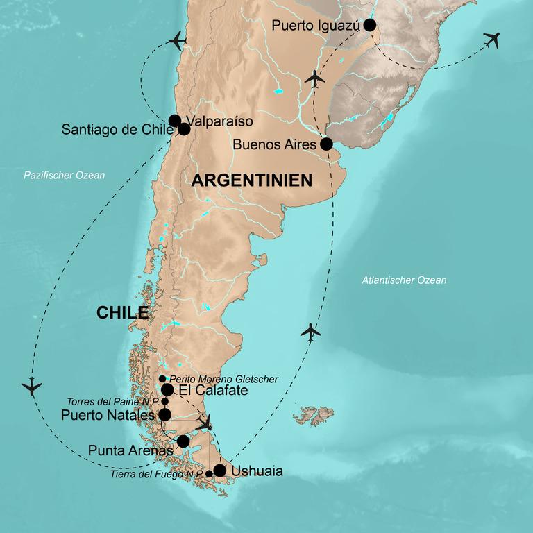 Chile und Argentinien  – Naturwunder Patagoniens