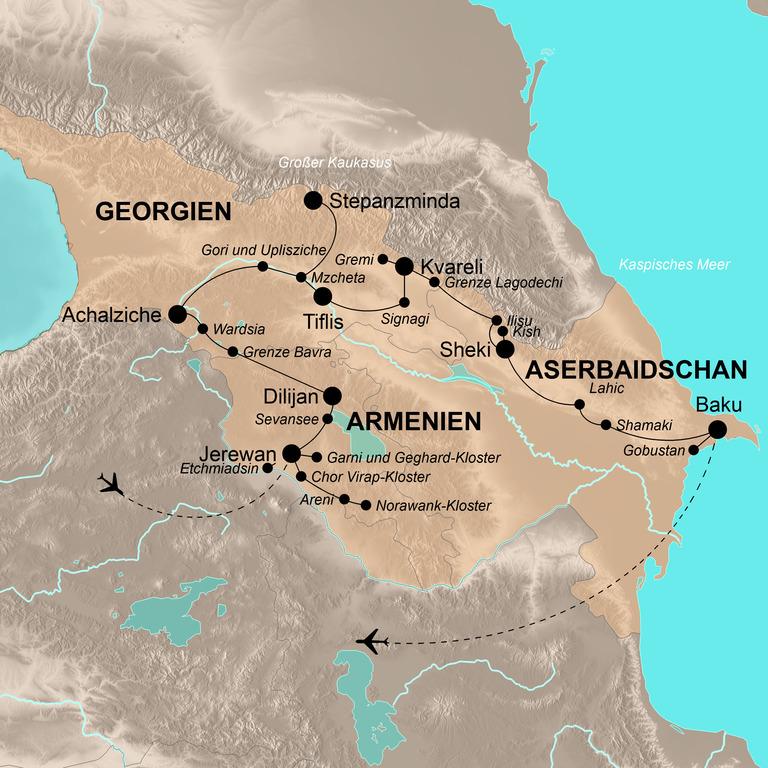 Georgien, Armenien und Aserbaidschan – Kaukasus mit Genuss