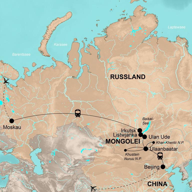 Russland, Mongolei und China – Die klassische Reise mit der Transsibirischen Eisenbahn